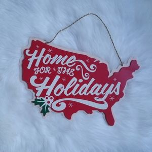 Home For The Holidays Christmas Map Wooden Decor